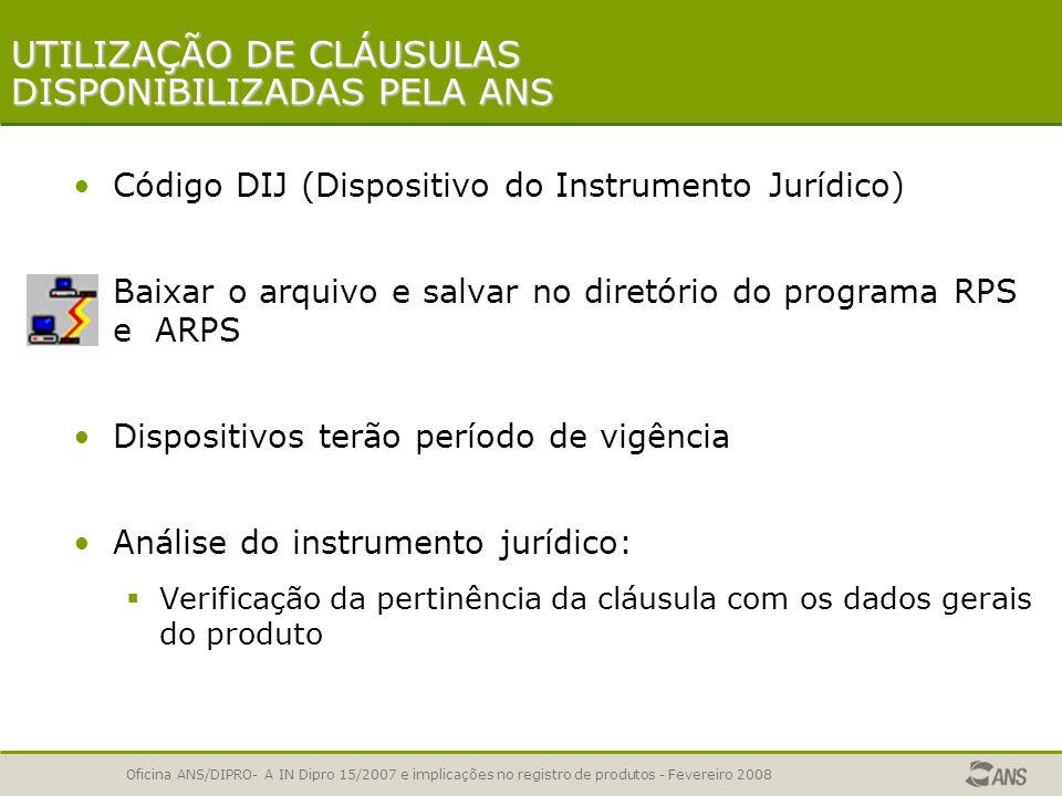 UTILIZAÇÃO DE CLÁUSULAS DISPONIBILIZADAS PELA ANS