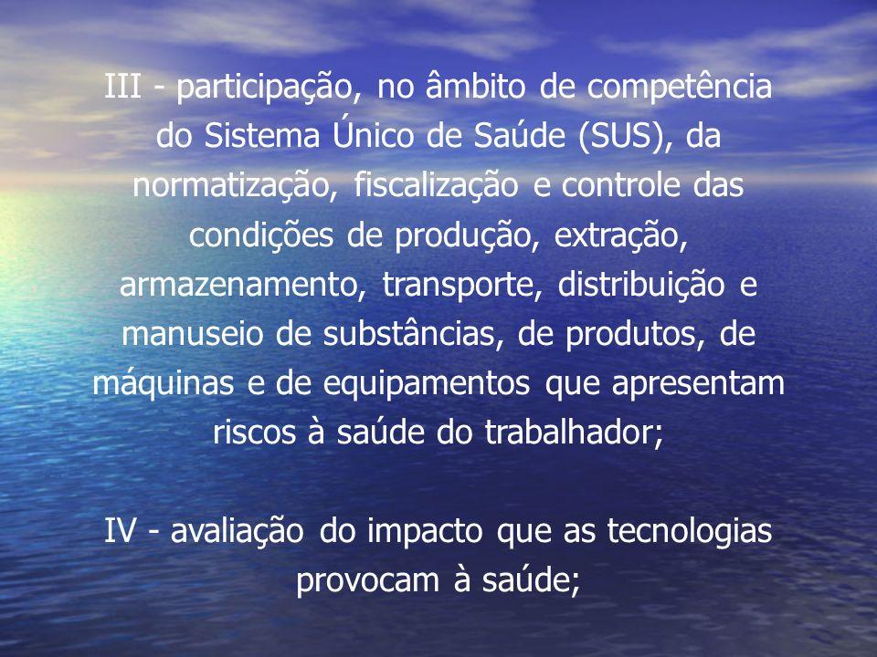III - participação, no âmbito de competência
