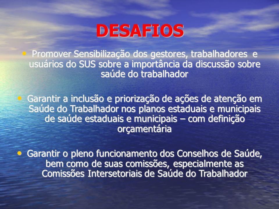 DESAFIOS Promover Sensibilização dos gestores, trabalhadores e usuários do SUS sobre a importância da discussão sobre saúde do trabalhador.