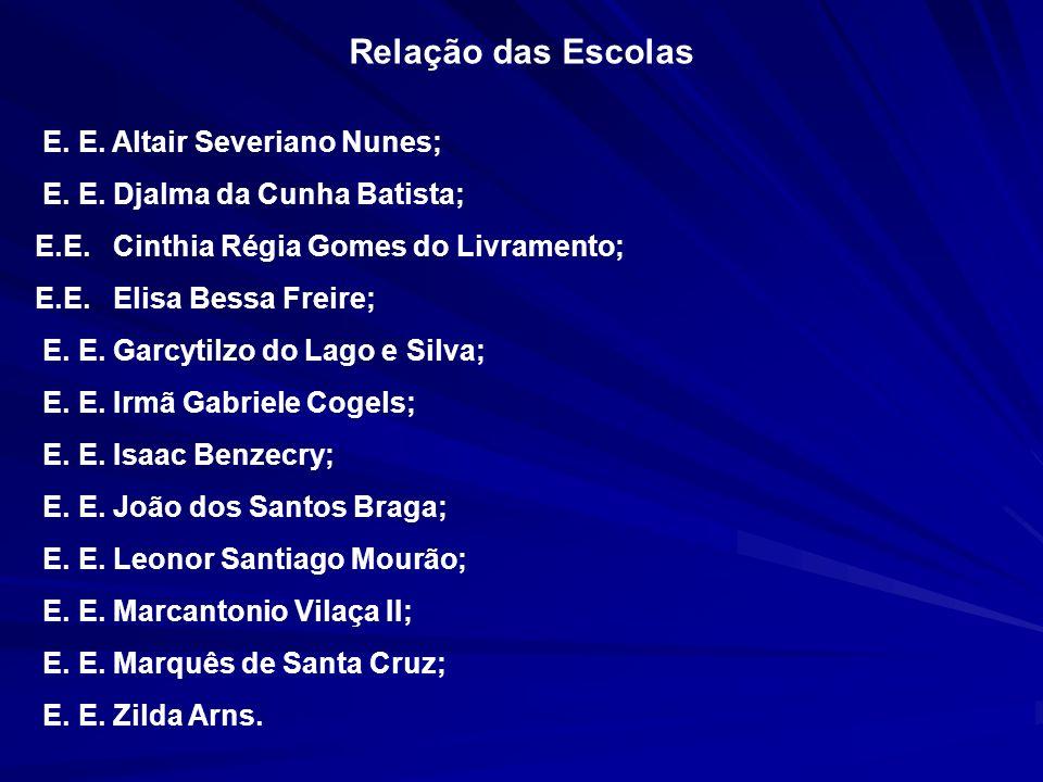 Relação das Escolas E. E. Altair Severiano Nunes;