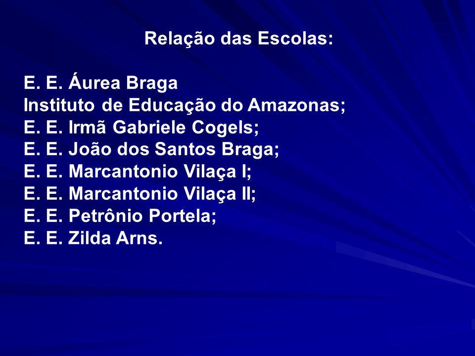 Relação das Escolas:E. E. Áurea Braga. Instituto de Educação do Amazonas; E. E. Irmã Gabriele Cogels;