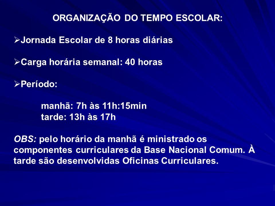 ORGANIZAÇÃO DO TEMPO ESCOLAR: