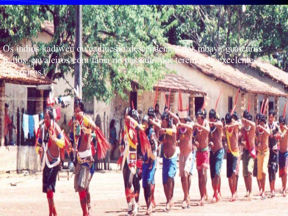 Kadiwéu Os índios kadiweu ou cadiuesao descendentes dos mbaya guaicurus índios cavaleiros com fama no passado por terem sido excelentes guerreiros.