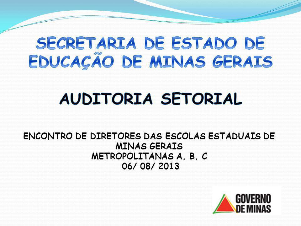 SECRETARIA DE ESTADO DE EDUCAÇÃO DE MINAS GERAIS AUDITORIA SETORIAL