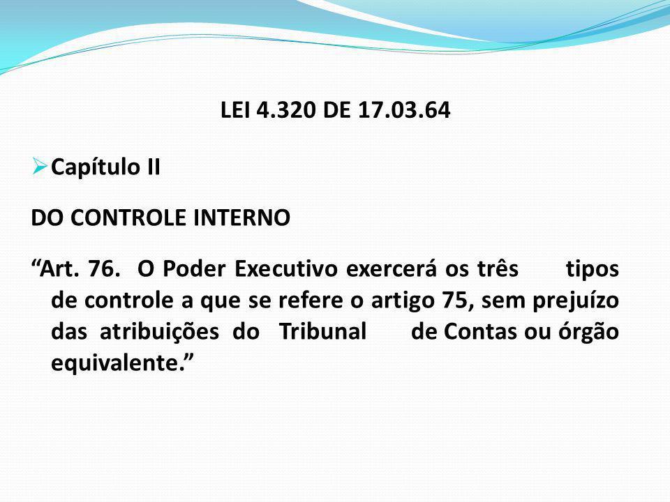 LEI 4.320 DE 17.03.64 Capítulo II. DO CONTROLE INTERNO.