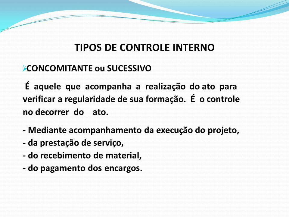 TIPOS DE CONTROLE INTERNO