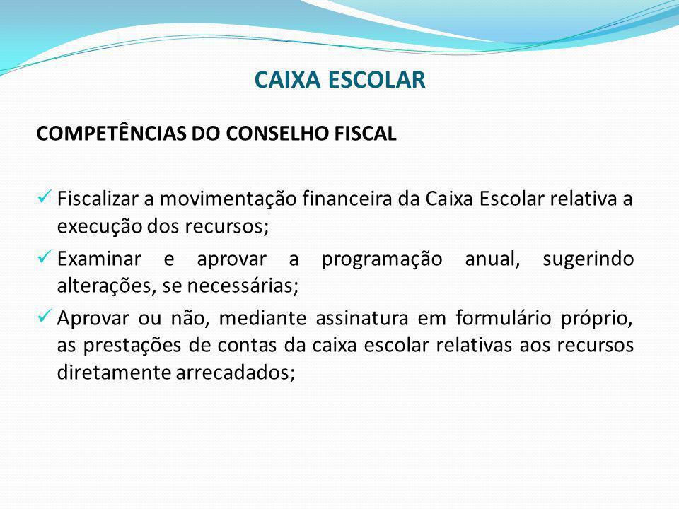 CAIXA ESCOLAR COMPETÊNCIAS DO CONSELHO FISCAL