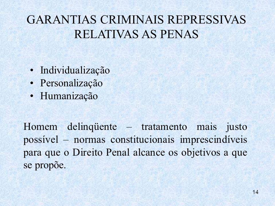 GARANTIAS CRIMINAIS REPRESSIVAS RELATIVAS AS PENAS