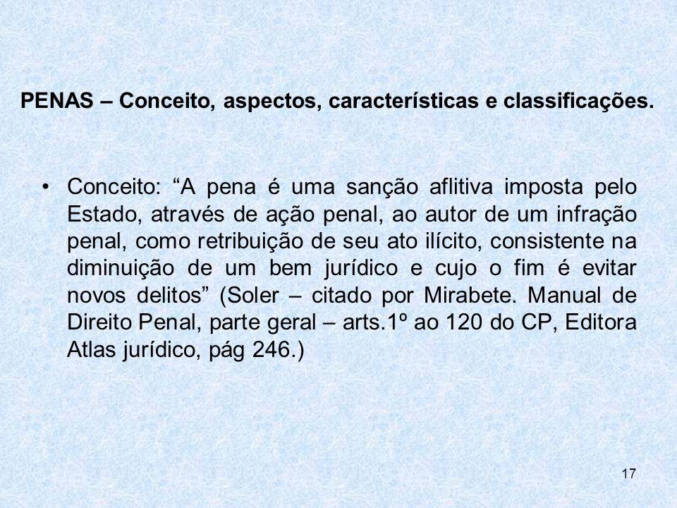 PENAS – Conceito, aspectos, características e classificações.