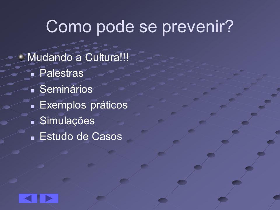 Como pode se prevenir Mudando a Cultura!!! Palestras Seminários