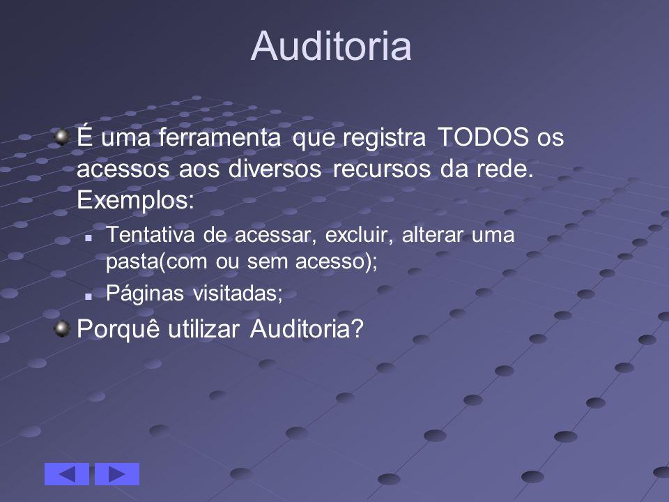 Auditoria É uma ferramenta que registra TODOS os acessos aos diversos recursos da rede. Exemplos:
