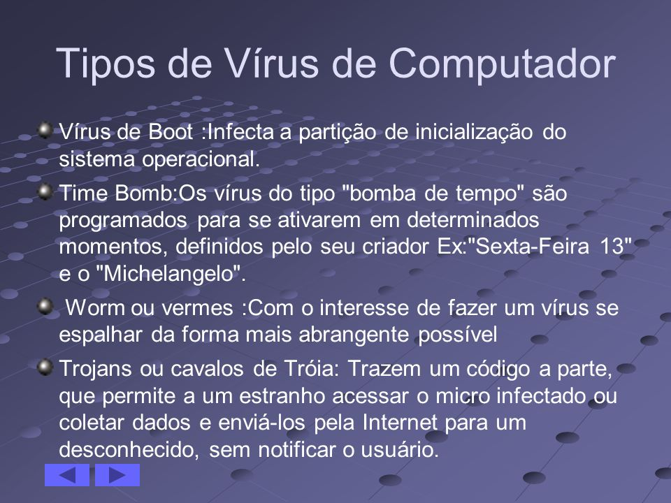Tipos de Vírus de Computador