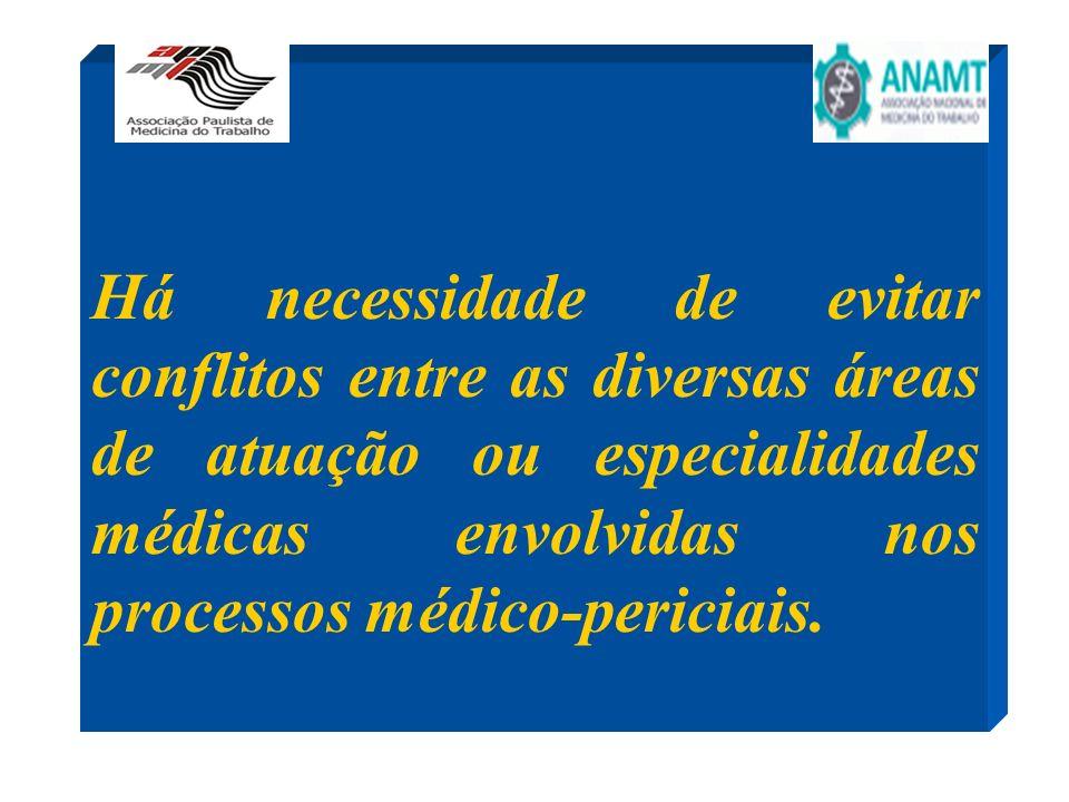 Há necessidade de evitar conflitos entre as diversas áreas de atuação ou especialidades médicas envolvidas nos processos médico-periciais.