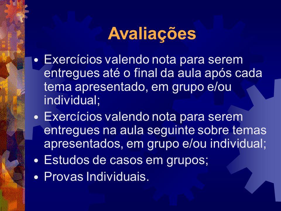Avaliações Exercícios valendo nota para serem entregues até o final da aula após cada tema apresentado, em grupo e/ou individual;
