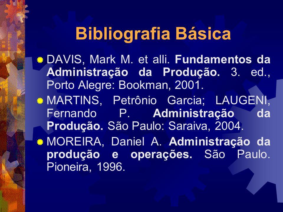 Bibliografia Básica DAVIS, Mark M. et alli. Fundamentos da Administração da Produção. 3. ed., Porto Alegre: Bookman, 2001.