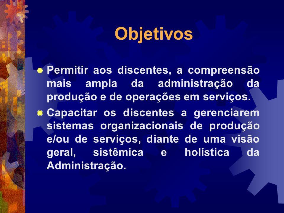 Objetivos Permitir aos discentes, a compreensão mais ampla da administração da produção e de operações em serviços.