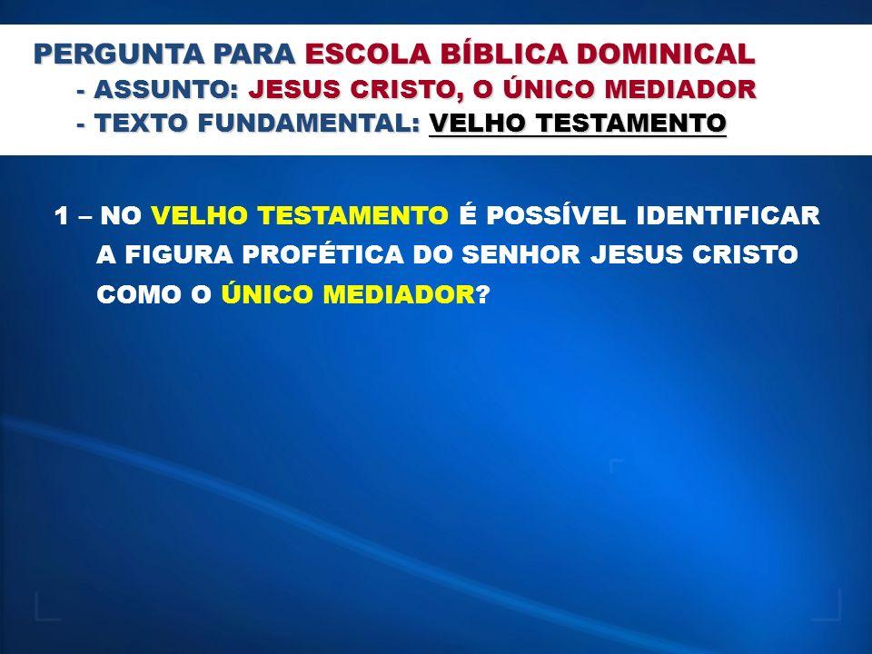 PERGUNTA PARA ESCOLA BÍBLICA DOMINICAL