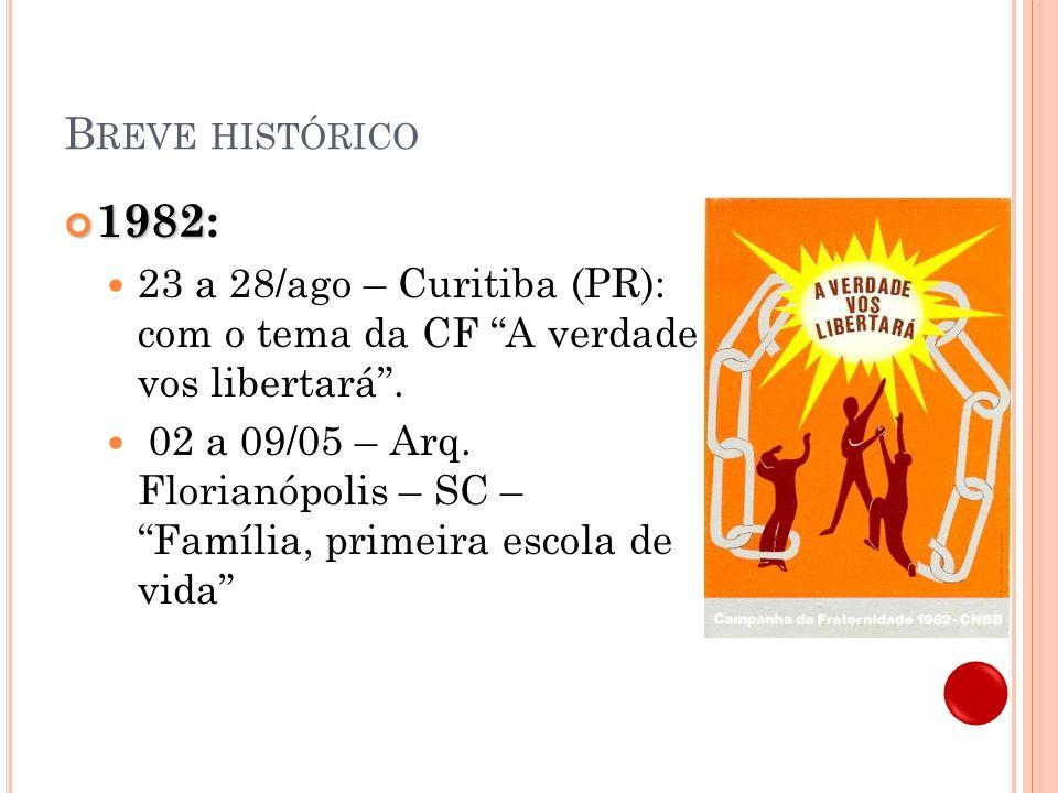 Breve histórico 1982: 23 a 28/ago – Curitiba (PR): com o tema da CF A verdade vos libertará .