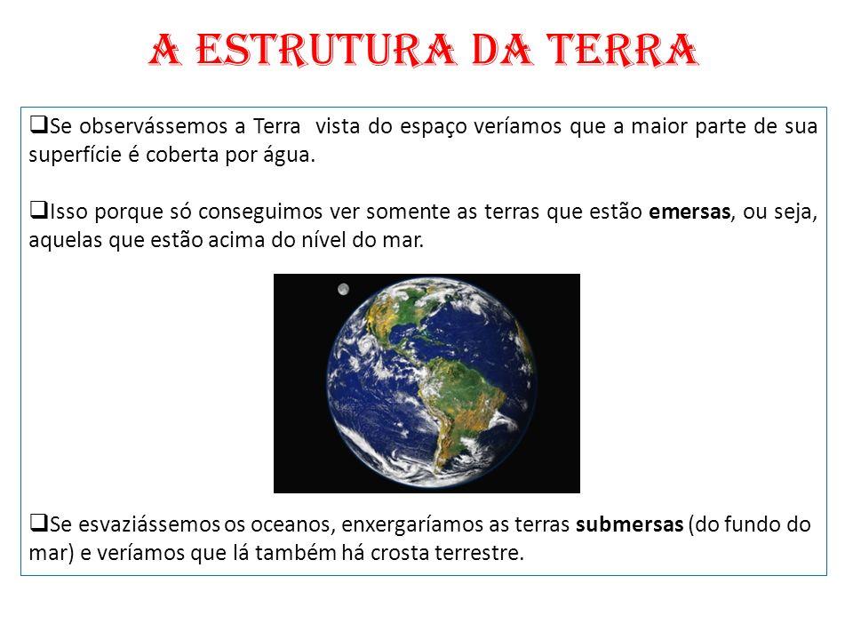 A ESTRUTURA DA TERRA Se observássemos a Terra vista do espaço veríamos que a maior parte de sua superfície é coberta por água.