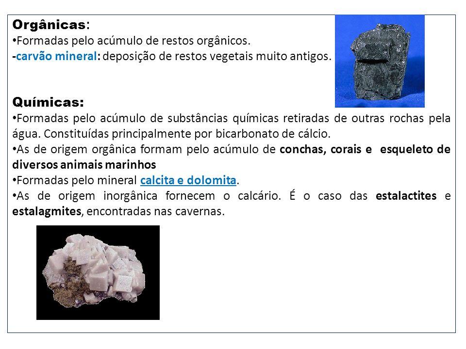 Orgânicas: Formadas pelo acúmulo de restos orgânicos. -carvão mineral: deposição de restos vegetais muito antigos.