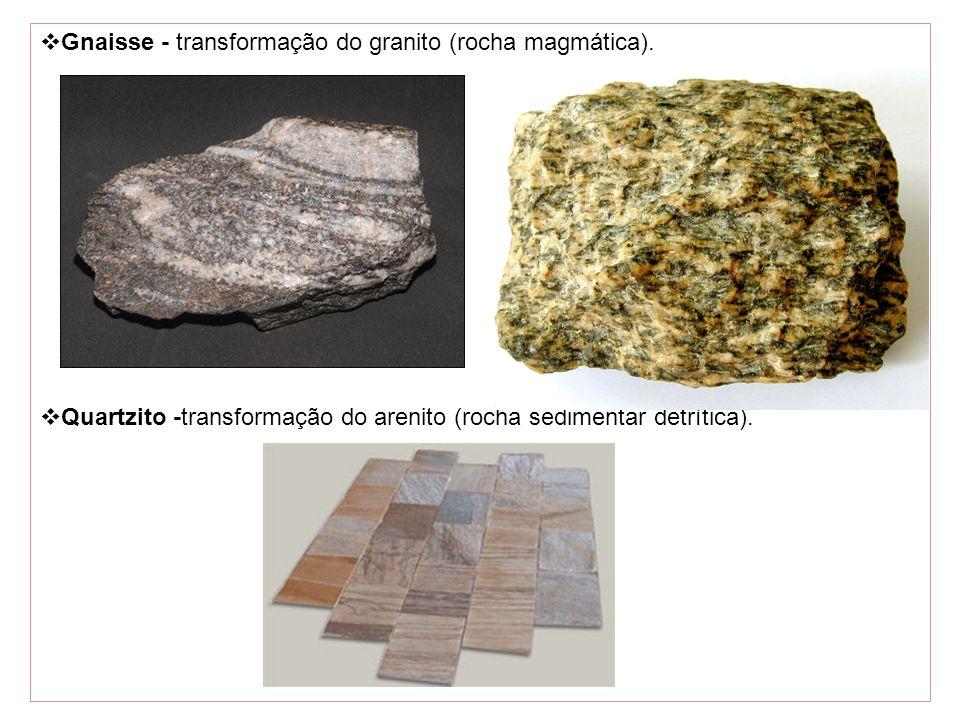 Gnaisse - transformação do granito (rocha magmática).