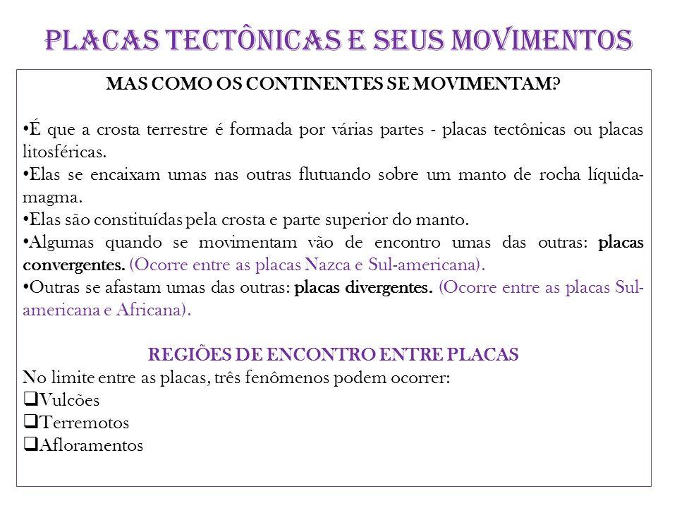 PLACAS TECTÔNICAS E SEUS MOVIMENTOS