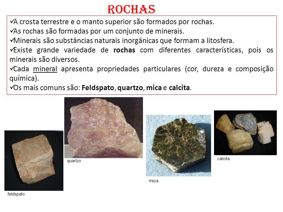 ROCHAS A crosta terrestre e o manto superior são formados por rochas.