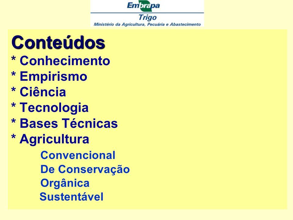Conteúdos * Conhecimento * Empirismo * Ciência * Tecnologia * Bases Técnicas * Agricultura Convencional De Conservação Orgânica Sustentável