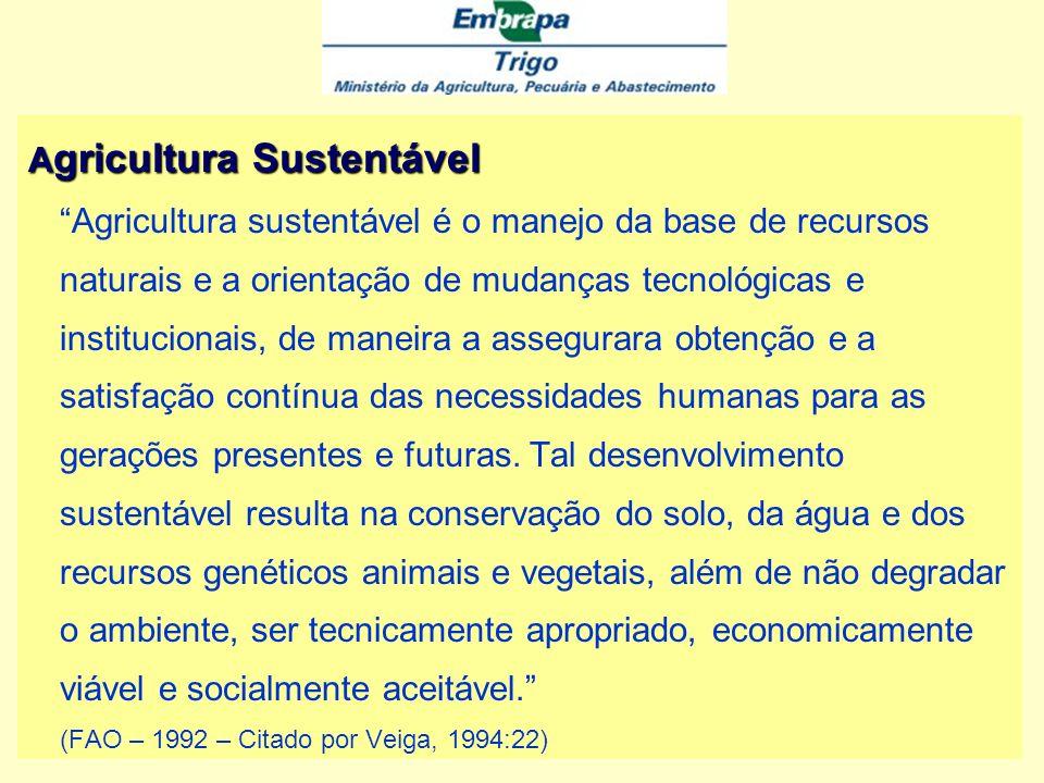 Agricultura Sustentável Agricultura sustentável é o manejo da base de recursos naturais e a orientação de mudanças tecnológicas e institucionais, de maneira a assegurara obtenção e a satisfação contínua das necessidades humanas para as gerações presentes e futuras.