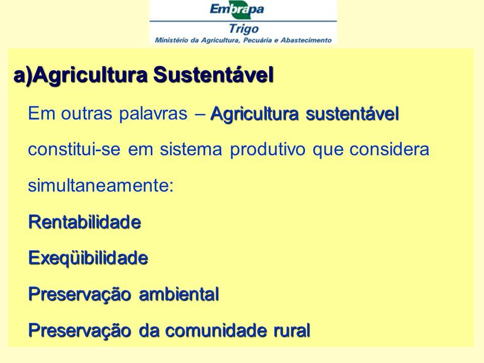 Agricultura Sustentável Em outras palavras – Agricultura sustentável constitui-se em sistema produtivo que considera simultaneamente: Rentabilidade Exeqüibilidade Preservação ambiental Preservação da comunidade rural