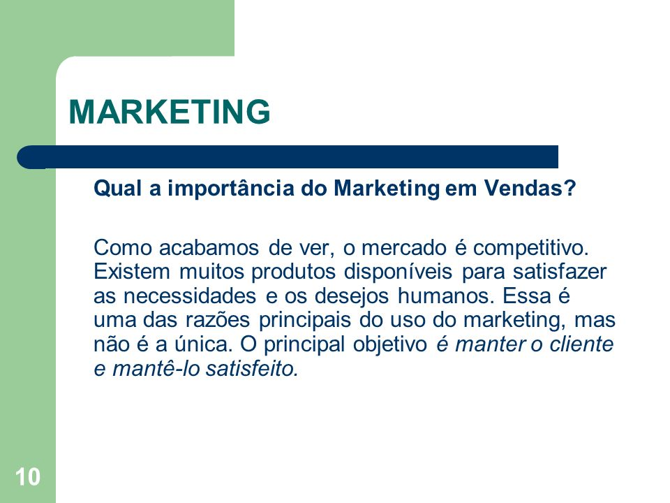 MARKETING Qual a importância do Marketing em Vendas