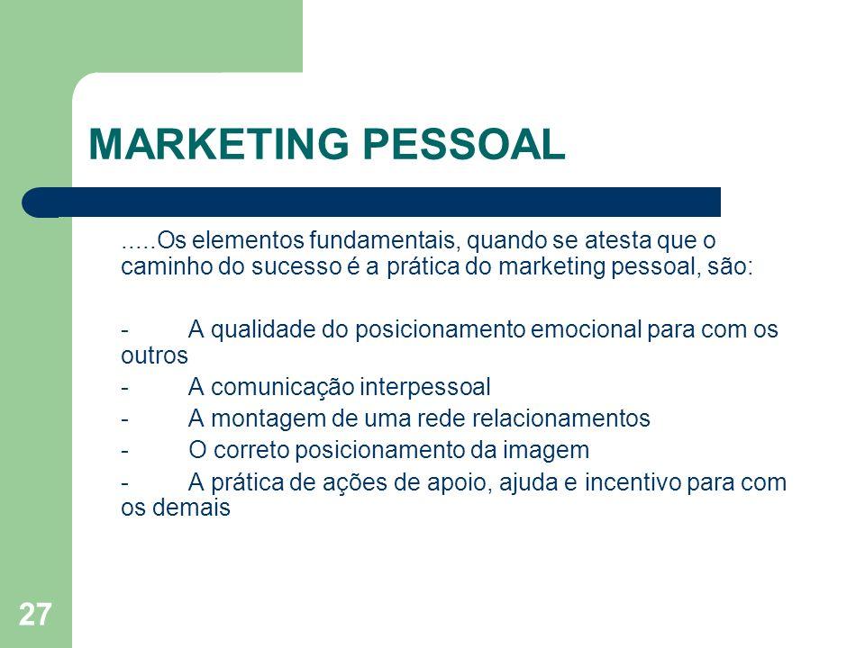 MARKETING PESSOAL .....Os elementos fundamentais, quando se atesta que o caminho do sucesso é a prática do marketing pessoal, são: