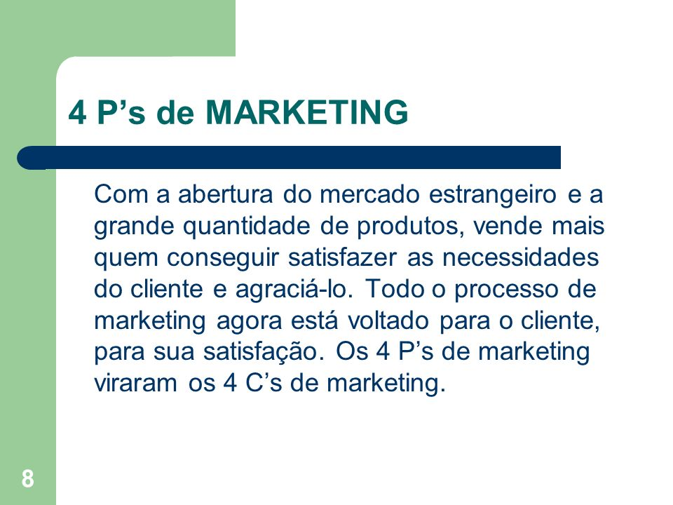 4 P's de MARKETING