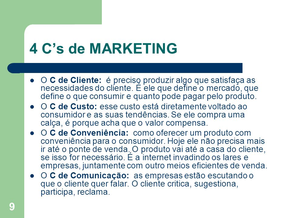 4 C's de MARKETING
