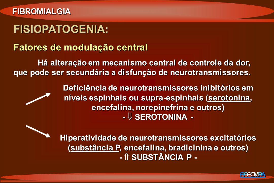 FISIOPATOGENIA: Fatores de modulação central FIBROMIALGIA