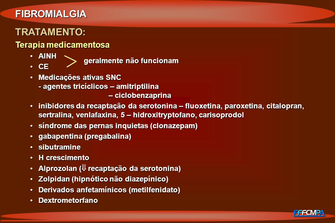 FIBROMIALGIA TRATAMENTO: Terapia medicamentosa AINH CE