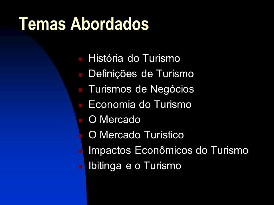 Temas Abordados História do Turismo Definições de Turismo