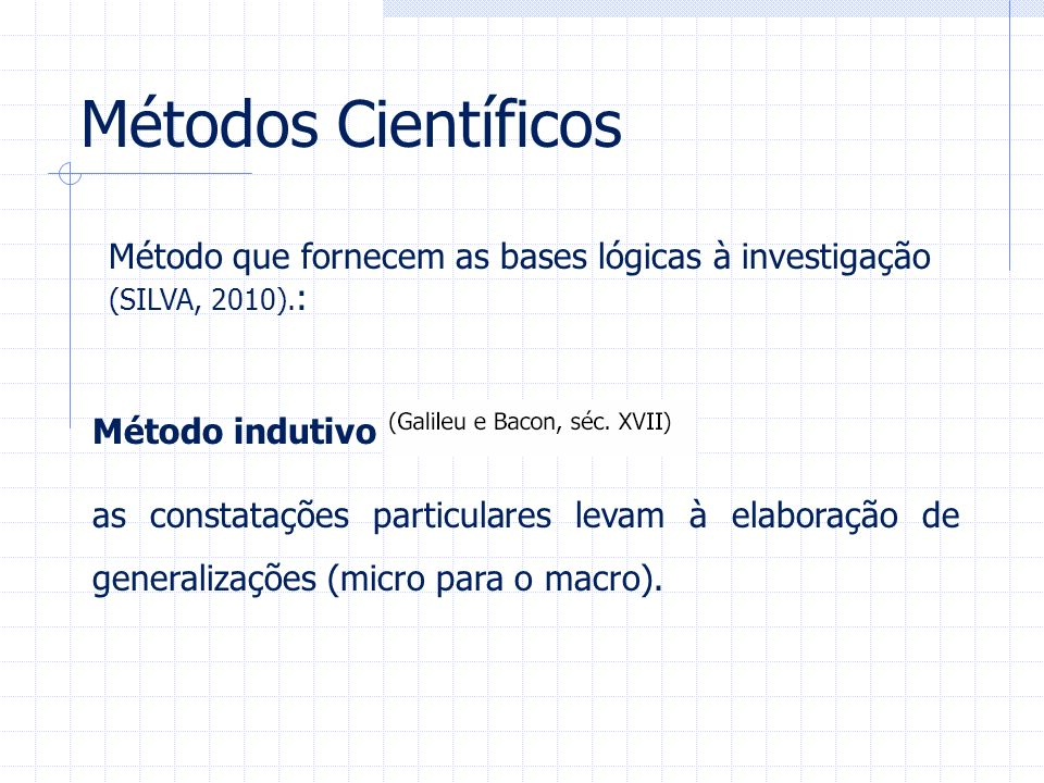 Métodos Científicos Método que fornecem as bases lógicas à investigação (SILVA, 2010).: Método indutivo.