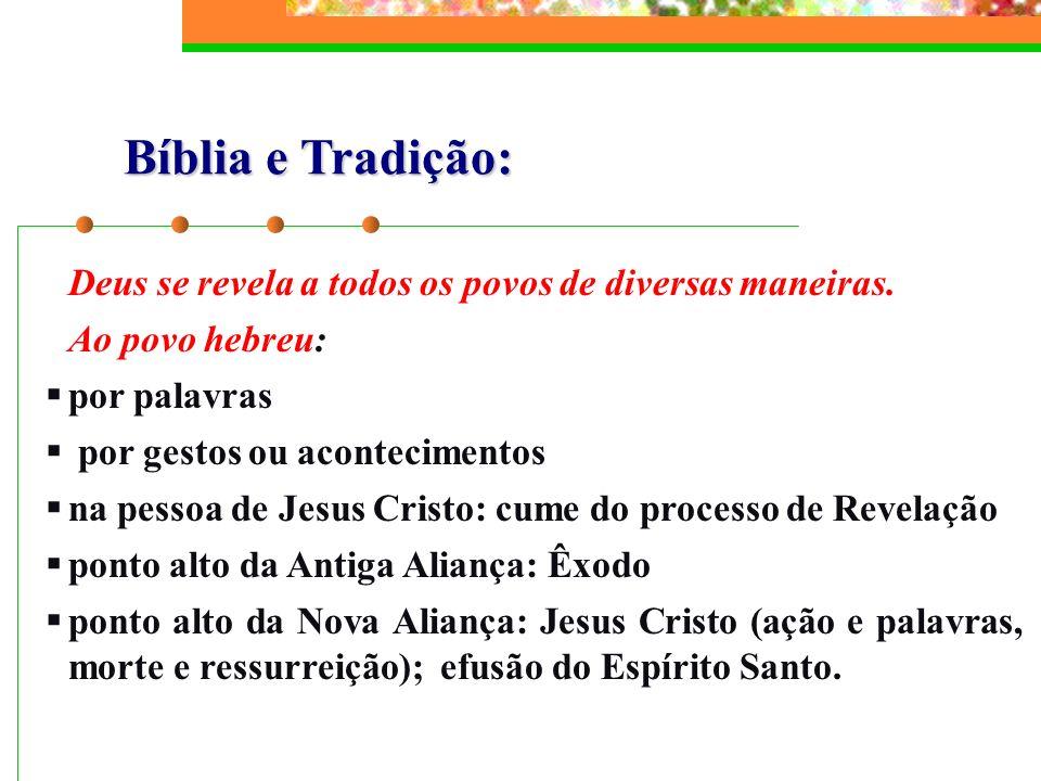 Bíblia e Tradição: Deus se revela a todos os povos de diversas maneiras. Ao povo hebreu: por palavras.