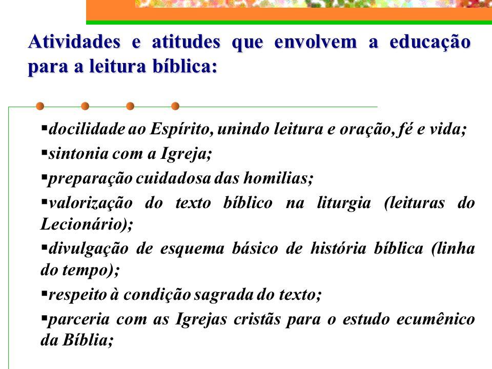 Atividades e atitudes que envolvem a educação para a leitura bíblica: