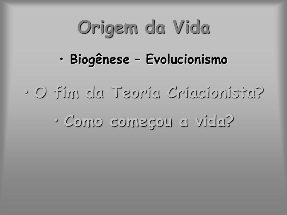 Biogênese – Evolucionismo O fim da Teoria Criacionista
