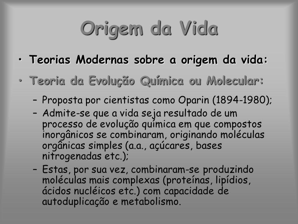 Origem da Vida Teorias Modernas sobre a origem da vida: