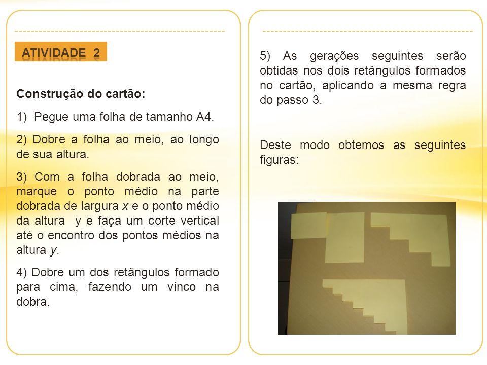 Atividade 2 5) As gerações seguintes serão obtidas nos dois retângulos formados no cartão, aplicando a mesma regra do passo 3.