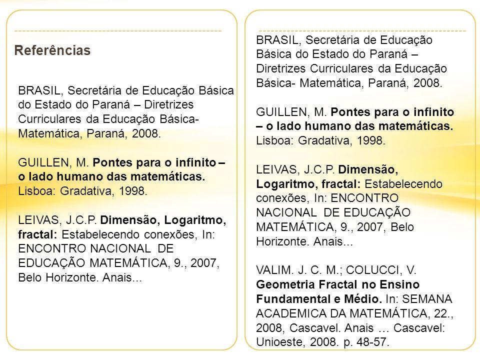 BRASIL, Secretária de Educação Básica do Estado do Paraná – Diretrizes Curriculares da Educação Básica- Matemática, Paraná, 2008.