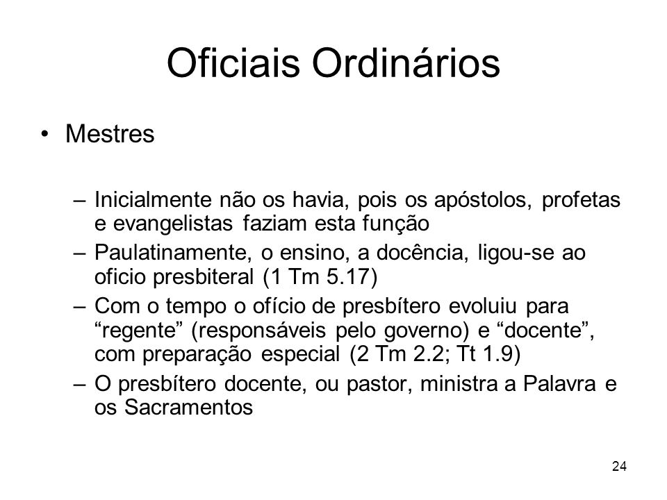 Oficiais Ordinários Mestres