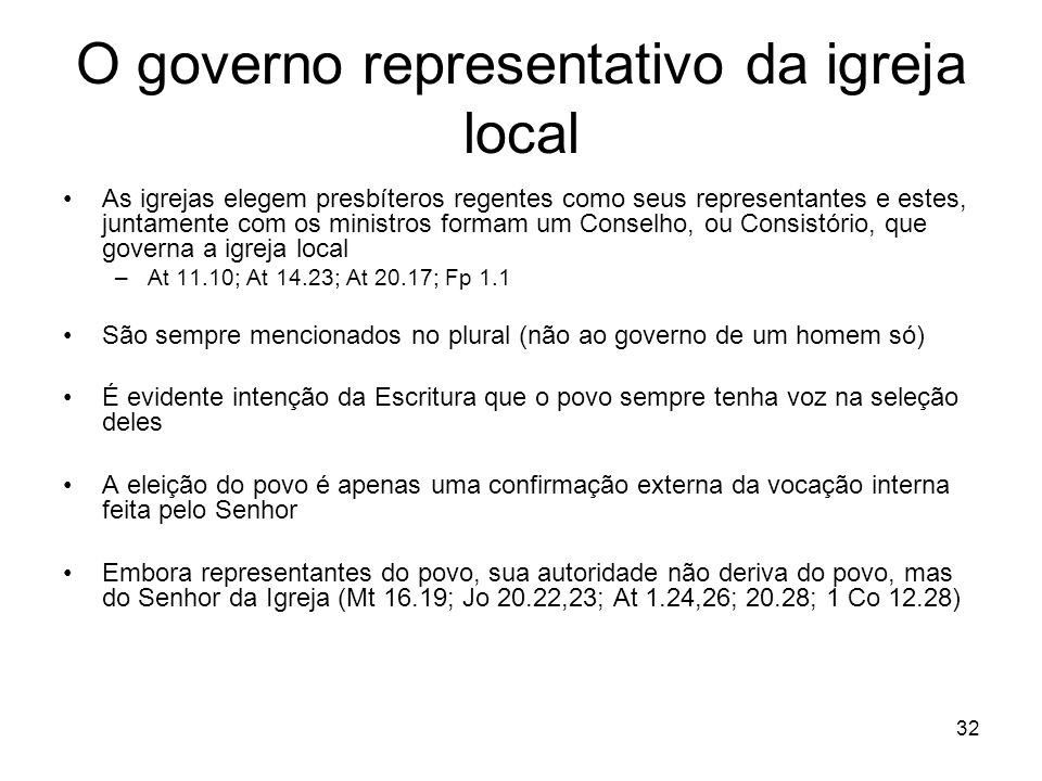 O governo representativo da igreja local