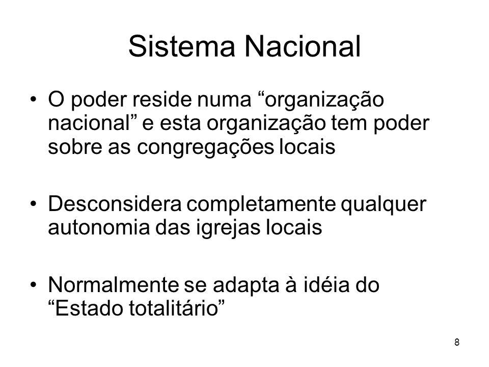 Sistema Nacional O poder reside numa organização nacional e esta organização tem poder sobre as congregações locais.