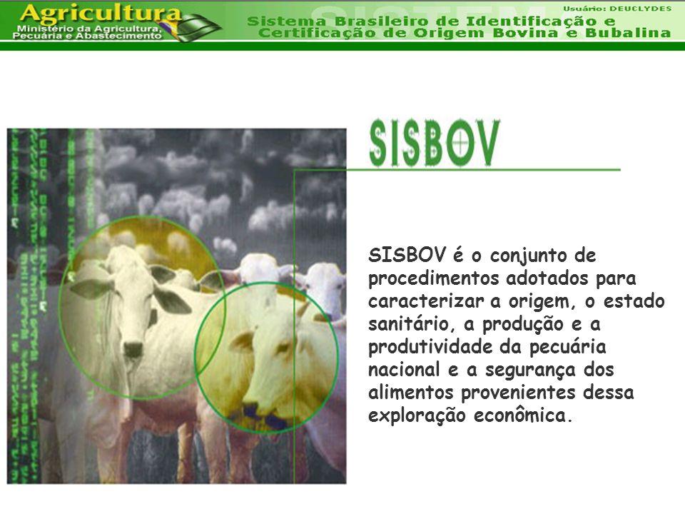 SISBOV é o conjunto de procedimentos adotados para caracterizar a origem, o estado sanitário, a produção e a produtividade da pecuária nacional e a segurança dos alimentos provenientes dessa exploração econômica.