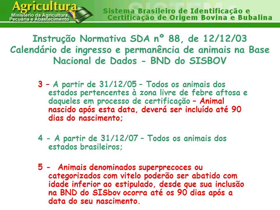 4 - A partir de 31/12/07 – Todos os animais dos estados brasileiros;