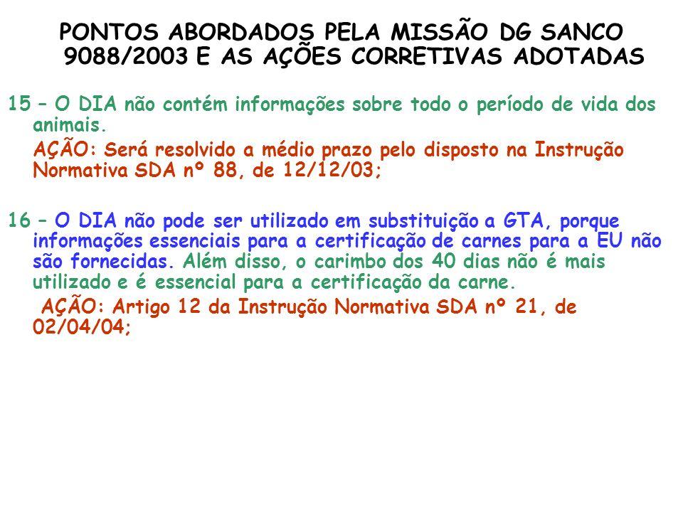 PONTOS ABORDADOS PELA MISSÃO DG SANCO 9088/2003 E AS AÇÕES CORRETIVAS ADOTADAS
